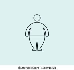 Fat man icon line isolated on clean background. Fat man icon concept drawing icon line in modern style.  illustration for your web mobile logo app UI design.