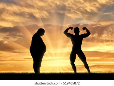 Fat man and sporty man on nature on sunset background. Healthy lifestyle concept