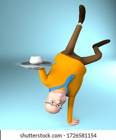 The fat man stands upside down on one arm and hold a cup with a tray,acrobatic, 3d render.