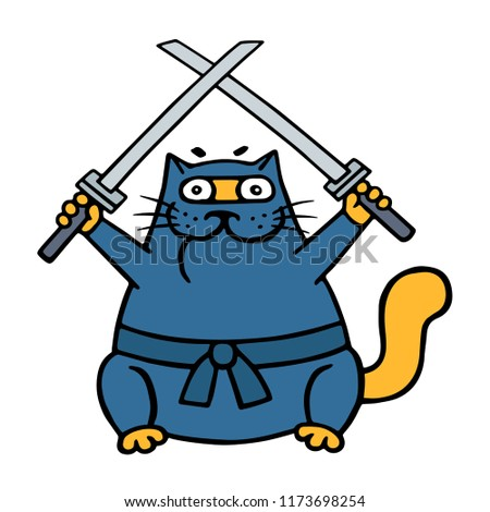 070e0b6672e Royalty-free stock illustration ID  1173698254. Fat ninja cat with two  crossed swords illustration - Illustration