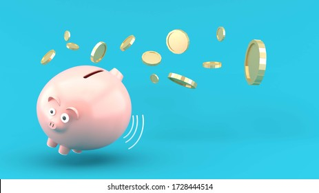 Fat Piggy Bank on the blue background.-3d rendering.