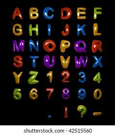 Fat Shiny Alphabet on Black Background (more alphabets in my portfolio)
