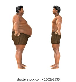 Fat and slim man opposite each other on white background - before and after diet