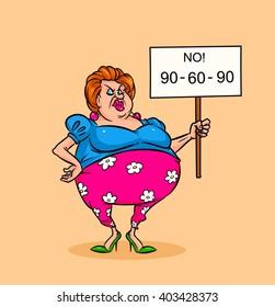 Fat woman feminist  slogan, no diets caricature parody illustration