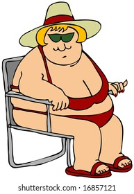 Fat Woman In A Red Bikini