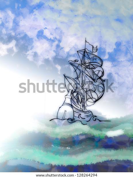 Fata morgana. Illusion or ghost ship.