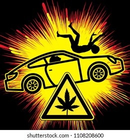 Fatal car crash after Cannabis use. Warning, traffic deaths rise due to the legalization of marijuana
