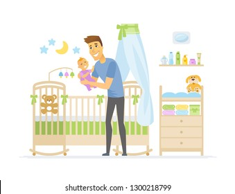 Father with baby - cartoon people characters illustration isolated on white background. Composition with young parent putting his child to bed, holding kid in hands, a room with crib, toys, change bed