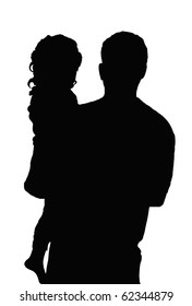 Father And Daughter -- Silhouette of a man holding a small girl, his daughter, against a clean white background