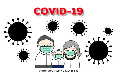 Father, mother and little boy wearing medical mask due to spreading Corona virus or COVID-19. The outbreak pandemic of Corona virus.