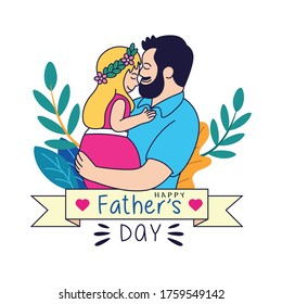 Father and son cartoons celebrate Father's Day with beautiful plant backgrounds