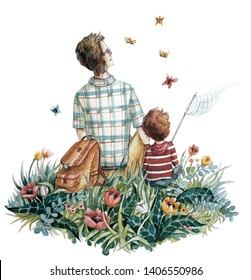 Father and son catch butterflies. Watercolor illustration.