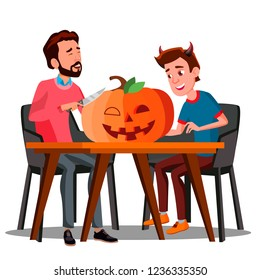 Father And Son Making A Pumpkin For Halloween. Halloween Illustration