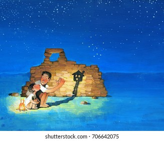 A father and a son at night in the desert light a fire near a wall, father with his hands creates the shadow of a house for his son