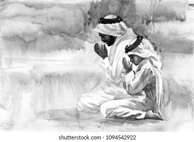 Father and son praying namaz. Watercolor muslim illustration