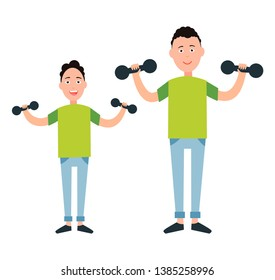 Father and son train with dumbbells raster illustration isolated on white. dad boy go in for sport together sportive family fatherhood concept