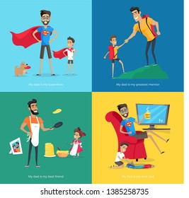 Father spend time with his son and daughter raster poster. dad in superhero costume near dog climbing mountain playing train daddy preparing pancakes