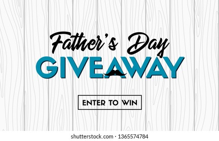 Father's day giveaway banner on wooden background. Raster version