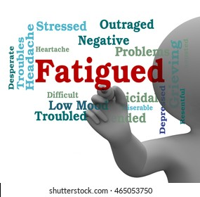 Fatigued Word Indicating Lack Of Energy Sluggishness 3d Rendering