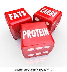 Fats Carbs Proteins 3 red dice to illustrate good balanced eating or nutrition with healthy foods and diet habits