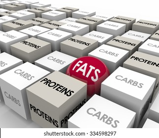 Fats word on a sphere or ball among cubes marked Carbs and Proteins to illustrate the three types of calories and cutting bad food sources to lose weight