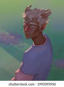 Faun boy in a flower field