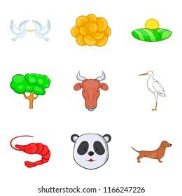 Fauna world icons set. Cartoon set of 9 fauna world icons for web isolated on white background