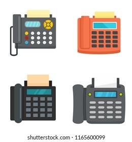 Fax machine telephone icons set. Flat illustration of 4 fax machine telephone icons isolated on white