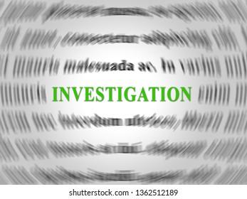 Fbi Investigation Word Depicting Federal Bureau Scrutiny And Analyzing Suspicious Suspect 3d Illustration. Investigator Of Murder Or Crime