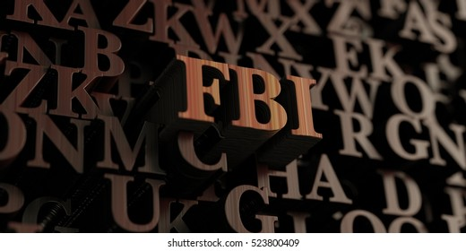 Fbi - Wooden 3D rendered letters/message.  Can be used for an online banner ad or a print postcard.
