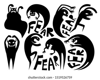 Fear silhouettes. Anxiety and disorder icons, conflicting and attack signs, dark demon or evil night devil illustration isolated