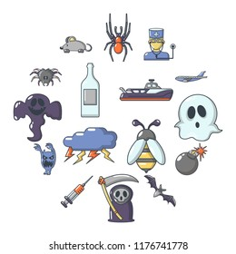 Fears phobias icons set. Cartoon illustration of 16 fears phobias icons for web