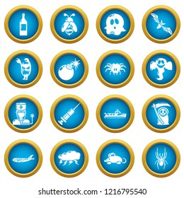 Fears phobias icons set. Simple illustration of 16 fears phobias icons for web