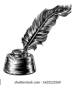 Feather quill ink writing pen in inkwell in a woodcut vintage retro or woodblock line art drawing style