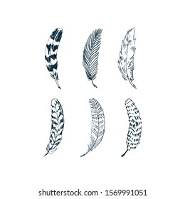 Feather set, hand painted with brush