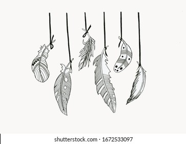 feathers dream Catcher illustration graphics black and white wallpapers postcard banner textile print