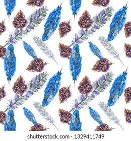 Feathers watercolor pattern. Watercolor birds feathers boho pattern. Seamless texture with hand drawn feathers. Illustration for your design. Watercolour color organic design print. Сhic wallpaper.