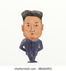 Feb.22, 2016- Caricature illustration of Kim Jong-un, Kim Jong-eun, Kim Jong Un or Kim Jung-eun, the supreme leader of the North Korea. standing done in watercolor cartoon style.