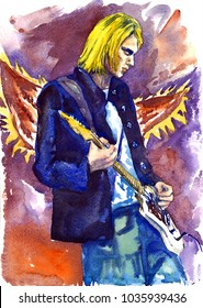 "February 10, 2017: illustration, painted watercolor inspired by Kurt Cobain, Nirvana leader with guitar on stage, angels wings background, ""Live and Loud"" concert, Seattle, illustrative editorial"
