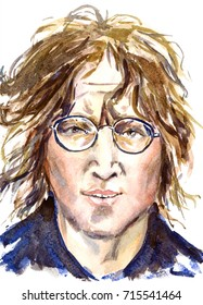 February 10, 2017: illustration, painted watercolor inspired by image of John Lennon, The Beatles leader, iconic face portrait, hand drawn watercolor illustration, illustrative editorial