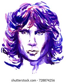 February 10, 2017: illustration, painted watercolor inspired by image of Jim Morrison, The Doors leader, iconic face portrait in purple colors, illustrative editorial