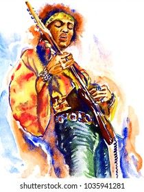 February 11, 2017: illustration, painted watercolor inspired by image of Jimi Hendrix with guitar on stage in hippie clothing: motley headscarf, yellow jacket, green trousers, illustrative editorial