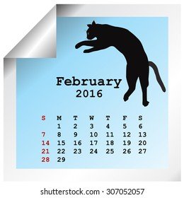 February 2016 Calendar with black cat silhouette