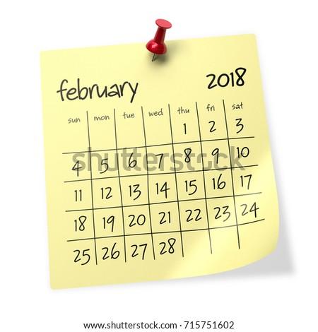 february 2018 calendar isolated on white background 3d illustration