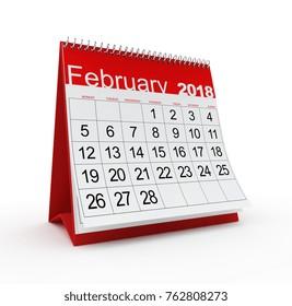 February 2018 monthly calendar. 3d rendered illustration.