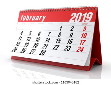 February 2019 Calendar. Isolated on White Background. 3D Illustration