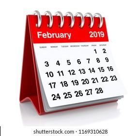 February 2019 Calendar. Isolated on White Background. 3D Illustration