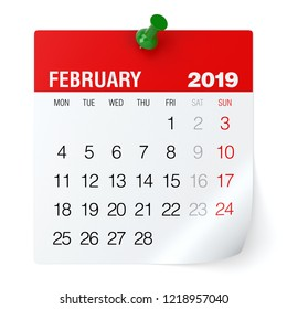 February 2019 - Calendar. Isolated on White Background. 3D Illustration