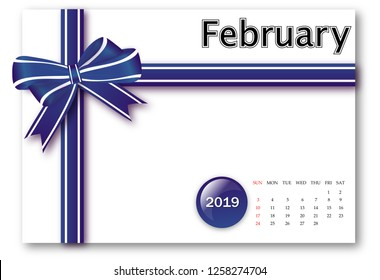 February 2019 - Calendar series with gift ribbon design