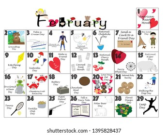 Unusual,February 2020 Calendar Quirky Holiday Images, Stock Photos & Vectors   Shutterstock